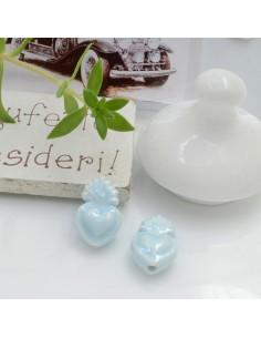 Perla a forma di cuore sacro in ceramica luminosa e smaltata colore azzurro chiarissimo due misure 2 pz per le tue creazioni