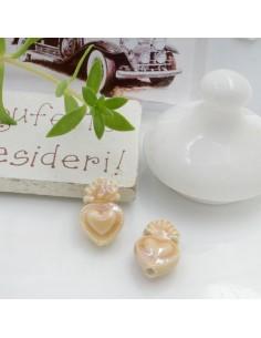 Perla a forma di cuore sacro in ceramica luminosa e smaltata colore beige due misure 2 pz per le tue creazioni alla moda!!