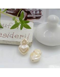 Perla a forma di cuore sacro in ceramica luminosa e smaltata colore beige chiaro due misure 2 pz per le tue creazioni alla moda!