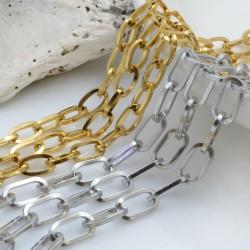 Catena ovale in acciaio inossidabile con filo quadrato varia misure 50 cm per creazioni fai da te!!