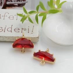 Ciondolo connettore mezza luna con cristalli colore rosso 14.5 x 16 mm 1 pz per le tue creazioni alla moda!!