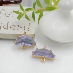 Ciondolo connettore mezza luna con cristalli colore lilla 14.5 x 16 mm 1 pz per le tue creazioni alla moda!!