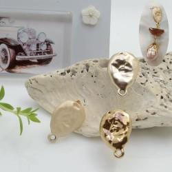 Base orecchini con perni ovale irregolare battuto in zama 18 x 12 mm con anellina per ciondoli per orecchini alla moda!!