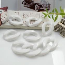 Catena Resina maglia piatta grumetta colore bianco 22.5 x 16 mm 90 pz per collana circa 1.10 metri per le tue creazioni