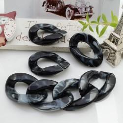 Catena Resina maglia piatta grumetta colore nero sfumato bianco 29 x 20 mm 50 pz per collana circa 80 cm per le tue creazioni