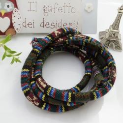 Cordino Etnico multicolore di cotone colore mix n 01 spessore 7 mm 1 MT per le tue creazioni alla moda!!