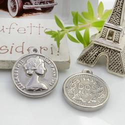 Ciondolo medaglia Elisabetta II 22 x 19 mm 1 pz in acciaio inossidabile per gioielli fai da te!!