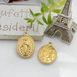 Ciondolo con madonnina in acciaio colore oro 19 x 13 mm 1 pz per le tue creazioni!!