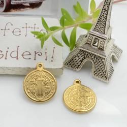 Ciondolo medaglia con santi in acciaio colore oro 17 x 14 mm 1 pz per le tue creazioni!!
