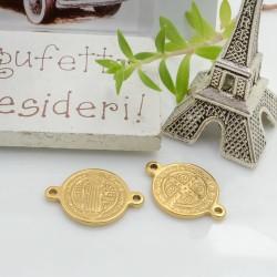 Connettore tondo religioso in acciaio colore oro 20 x 14 mm 1 pz per le tue creazioni!!