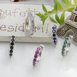 CERCHIETTI con strass base argento anelle orecchini cerchio tonde chiuse 14 mm per le tue creazioni