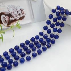 Catena rosario pietre agata colore blu sfaccettata 4 mm base oro in acciaio 50 cm per le tue creazioni!!