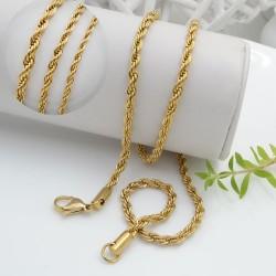 Base per collana catena attorcigliata in acciaio colore oro lunga 55 cm per le tue creazioni!!