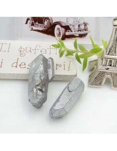 Cristallo naturale colorato argento forma Bullet lunghi 1 pz con foro passante alto per tue creazioni