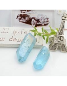 Cristallo naturale colorato azzurro AB forma Bullet lunghi 1 pz con foro passante alto per tue creazioni