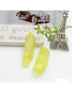 Cristallo naturale colorato giallo acceso forma Bullet lunghi 1 pz con foro passante alto per tue creazioni