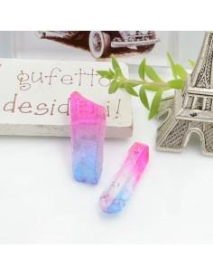 Cristallo naturale colorato fucsia blu forma Bullet lunghi 1 pz con foro passante alto per tue creazioni