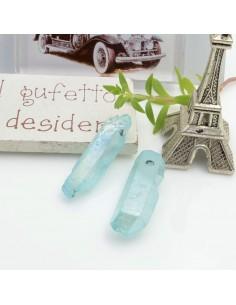 Cristallo naturale colorato azzurro chiaro AB forma Bullet lunghi 1 pz con foro passante alto per tue creazioni
