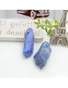 Cristallo naturale colorato blu chiaro forma Bullet lunghi 1 pz con foro passante alto per tue creazioni