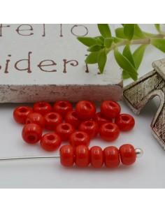 Perline di vetro forma rondella 3 x 4 mm 70 pz foro 1.3 mm colore rosso chiaro per le tue creazioni alla moda!!