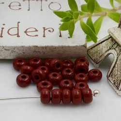 Perline di vetro forma rondella 3 x 4 mm 70 pz foro 1.3 mm colore mattone per le tue creazioni alla moda!!