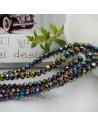 Filo mezzo cristallo Rondelle Cipollotti colore metallic arcobaleno 3x4 mm briolette 125 a 145pz per le tue creazioni