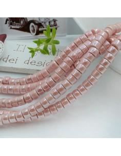 Filo perle in ceramica rondella luminosa e smaltata colore rosa 4 x 6 mm 80 pz per le tue creazioni!!