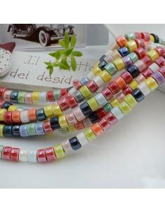 Filo perle in ceramica rondella luminosa e smaltata colore mix 4 x 6 mm 80 pz per le tue creazioni!!