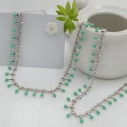 Catena in acciaio groumetta argento piatta forma gocce smaltate verde tiffany altezza 0.6 mm confezione 50 cm