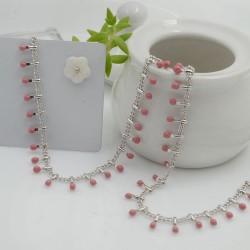 Catena in acciaio groumetta argento piatta forma gocce smaltate rosa altezza 0.6 mm confezione 50 cm