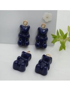 Ciondolo Orsetto in resina colore blu scuro 22 x 12 mm con gancio in ottone per le tue creazioni!!