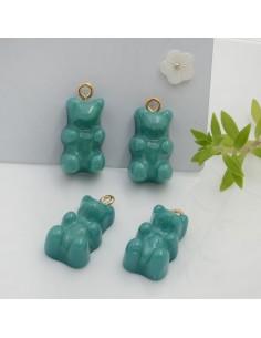 Ciondolo Orsetto in resina colore tiffany 22 x 12 mm con gancio in ottone per le tue creazioni!!