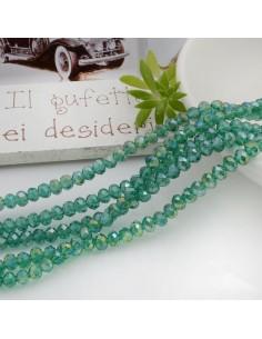Filo mezzo cristallo Rondelle Cipollotti colore verde trasparente AB 3x4 mm briolette 125 a 145pz per le tue creazioni