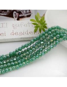 Filo mezzo cristallo Rondelle Cipollotti colore verde AB 3x4 mm briolette 125 a 145pz per le tue creazioni