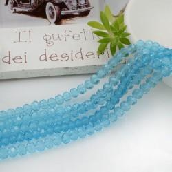 Filo mezzo cristallo Rondelle Cipollotti colore azzurro trasparente 3x4 mm briolette 125 a 145pz per le tue creazioni