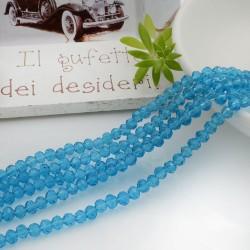 Filo mezzo cristallo Rondelle Cipollotti colore celeste 3x4 mm briolette 125 a 145pz per le tue creazioni