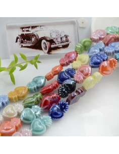Filo perle a forma di cuore sacro in ceramica luminosa e smaltata colore mix 16 x 10 mm 20 pz per le tue creazioni!!