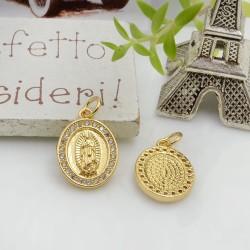 Ciondolo medaglia con madonnina con zirconi strass base oro 17 x 12 mm 1 pz per le tue creazioni!!