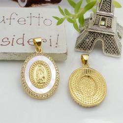 Ciondolo medaglia con madonnina con zirconi strass e madreperla base oro 25 x 17 mm 1 pz per le tue creazioni!!