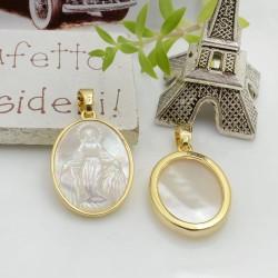 Ciondolo medaglia con madonnina in madreperla base oro 24 x 17 mm 1 pz per le tue creazioni!!