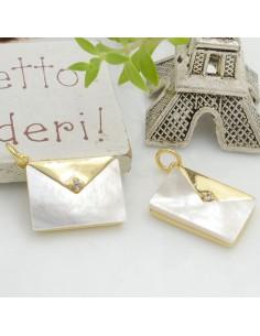 Ciondolo pendente Borsetta in madreperla con zircone 16 x 12 mm 1 pz in ottone base oro per le tue creazioni!!!