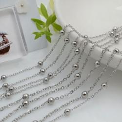 Catena in acciaio colore argento con pallina anelli saldati catena ovalina 1 mt per le tue creazioni fai da te!!