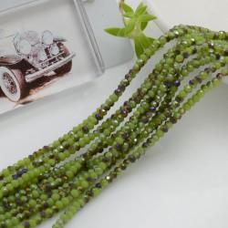 filo di cristalli sfaccettati cipollotti rondelle Verde cammello AB 1.5 x 2.5 mm circa 180 pz per tuoi gioielli