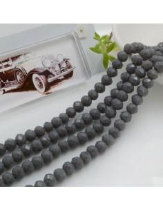 Filo mezzo cristallo Rondelle Cipollotti 4 x 6 mm briolette col grigio scuro 90 pz per le tue creazioni!!