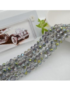 Filo mezzo cristallo Rondelle Cipollotti 4 x 6 mm briolette col arcobaleno 90 pz per le tue creazioni!!