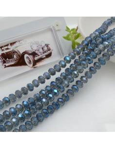 Filo mezzo cristallo Rondelle Cipollotti 4 x 6 mm briolette col fumè zaffiro 90 pz per le tue creazioni!!