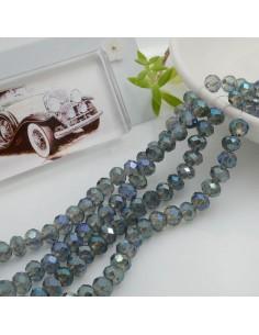 Filo mezzo cristallo Rondelle Cipollotti 4 x 6 mm briolette col fumè blu 90 pz per le tue creazioni!!