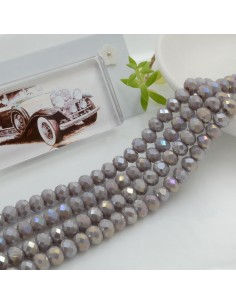 Filo mezzo cristallo Rondelle Cipollotti 4 x 6 mm briolette col lilla chiaro AB 90 pz per le tue creazioni!!