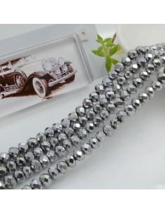 Filo mezzo cristallo Rondelle Cipollotti 4 x 6 mm briolette col argento rodio 90 pz per le tue creazioni!!