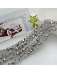 Filo mezzo cristallo Rondelle Cipollotti 4 x 6 mm briolette col grigio cammello 90 pz per le tue creazioni!!